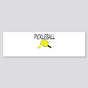 Pickleball with yellow paddle ball Bumper Sticker
