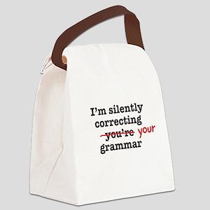 Silently correcting grammar Canvas Lunch Bag