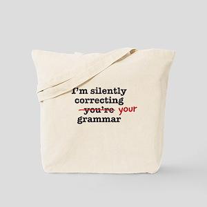Silently correcting grammar Tote Bag