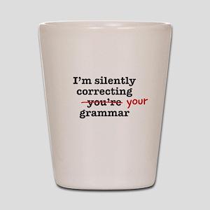 Silently correcting grammar Shot Glass