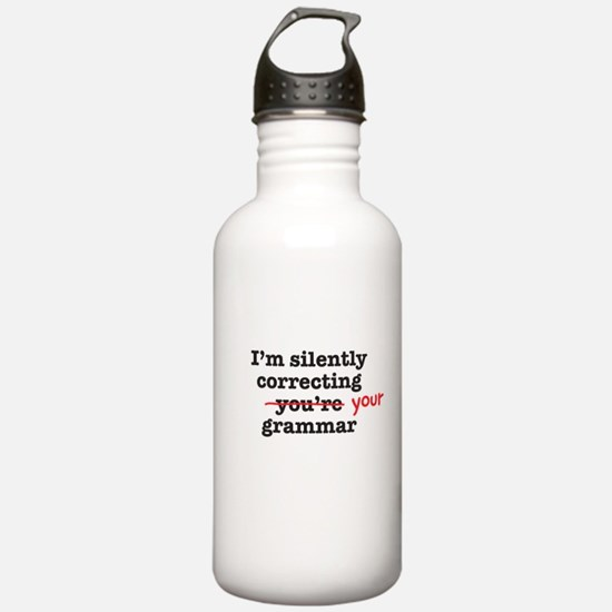 Silently correcting grammar Water Bottle