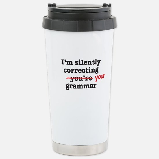 Silently correcting grammar Travel Mug