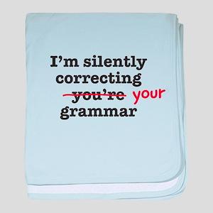 Silently correcting grammar baby blanket
