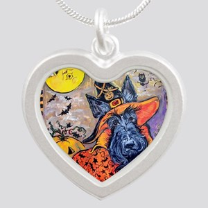 Scottie Halloween Witch Silver Heart Necklace