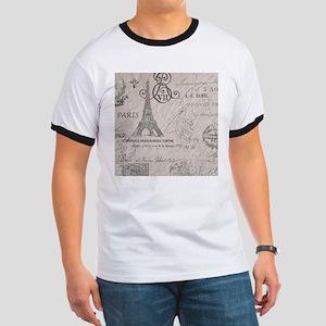 vintage paris eiffel tower scripts T-Shirt