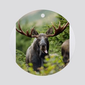 Mr Moose Sticking Tongue Out Ornament (Round)
