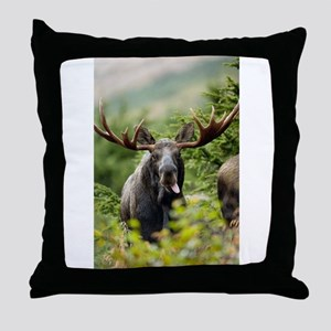 Mr Moose Sticking Tongue Out Throw Pillow