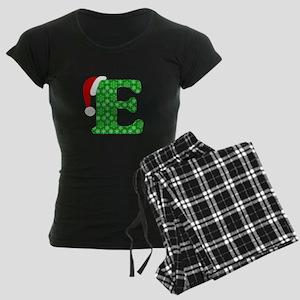 Christmas Monogram Letter E Women's Dark Pajamas