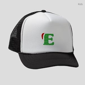 Christmas Monogram Letter E Kids Trucker hat