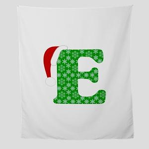 Christmas Monogram Letter E Wall Tapestry