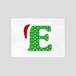 Christmas Monogram Letter E 5'x7'Area Rug