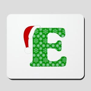 Christmas Monogram Letter E Mousepad