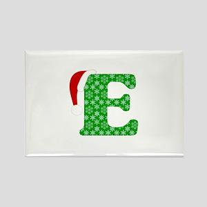 Christmas Monogram Letter E Rectangle Magnet