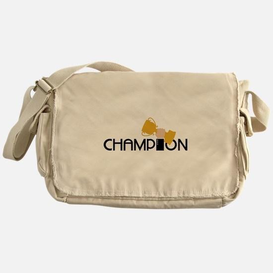 Champion Holding Trophy Messenger Bag