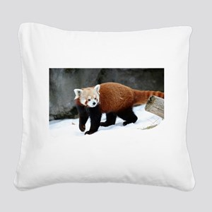Red Panda Square Canvas Pillow