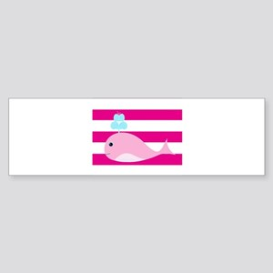 Pink Whale on Hot Pink Stripes Bumper Sticker