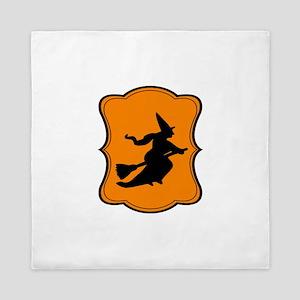 Halloween Witch Orange Black Queen Duvet