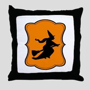 Halloween Witch Orange Black Throw Pillow