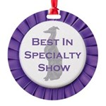 Whippet Best In Specialty Show Round Ornament