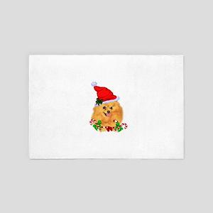 Pomeranian Christmas Gifts 4' x 6' Rug