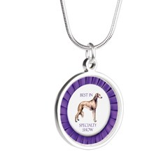 Saluki Best In Specialty Sho Silver Round Necklace
