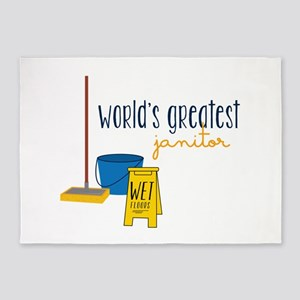 World's greatest janitor 5'x7'Area Rug