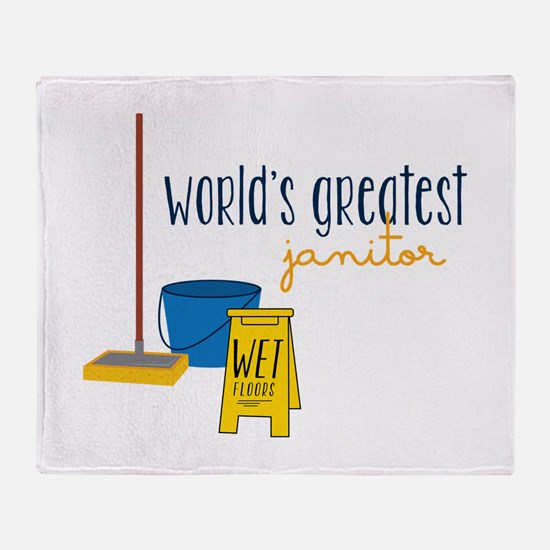 World's greatest janitor Throw Blanket