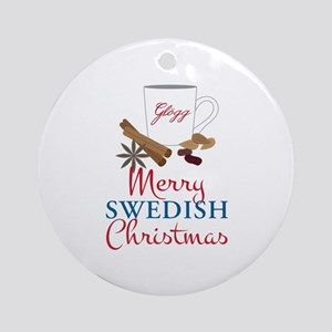Merry Swedish Christmas Ornament (Round)