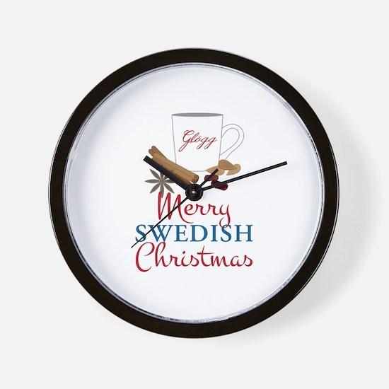 Merry Swedish Christmas Wall Clock