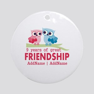 9th Anniversary Gift Personalized Ornament (Round)