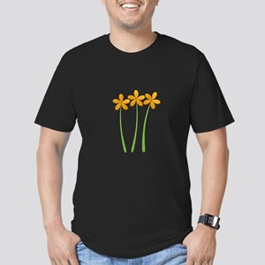 Sunny Orange Tropical Green Flowers T-Shirt