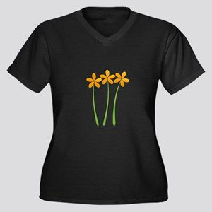Sunny Orange Tropical Green Flowers Plus Size T-Sh