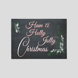 Chalkboard Holly Jolly Christmas 5'x7'Area Rug