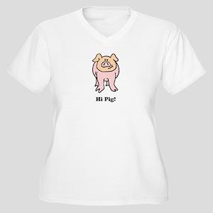 Hi Pig Bye Pig Women's Plus Size V-Neck T-Shirt