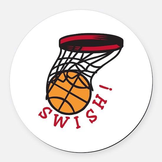 Basketball Swish Round Car Magnet