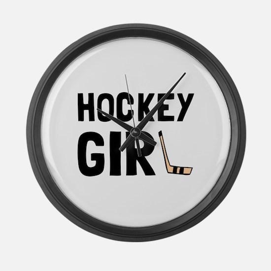 Hockey Girl Large Wall Clock
