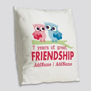 7th Anniversary Couple Gift Pe Burlap Throw Pillow