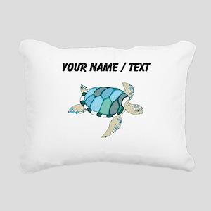 Custom Blue Sea Turtle Rectangular Canvas Pillow