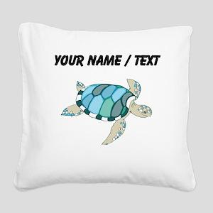 Custom Blue Sea Turtle Square Canvas Pillow