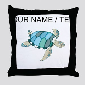 Custom Blue Sea Turtle Throw Pillow