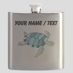 Custom Blue Sea Turtle Flask