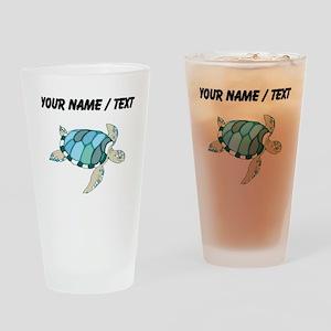 Custom Blue Sea Turtle Drinking Glass