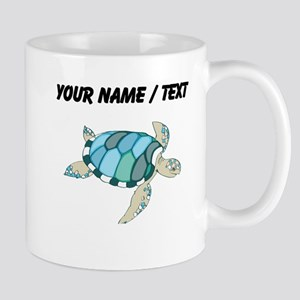 Custom Blue Sea Turtle Mugs