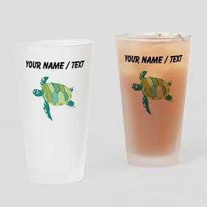 Custom Green Sea Turtle Drinking Glass