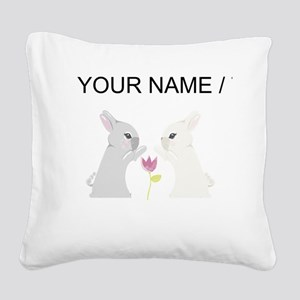 Custom Grey And White Rabbit Square Canvas Pillow
