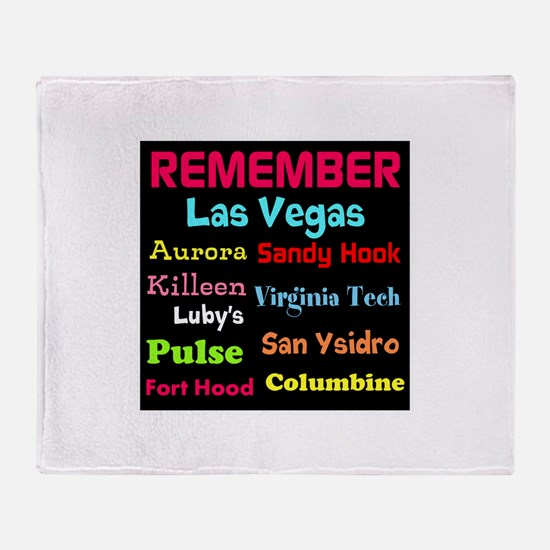 Remember Mass shootings, stop violence Throw Blank