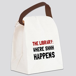 Library Shhh Happens Canvas Lunch Bag