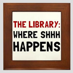 Library Shhh Happens Framed Tile