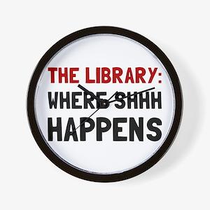 Library Shhh Happens Wall Clock