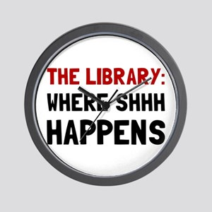 Library Shhh Happens Wall Clock